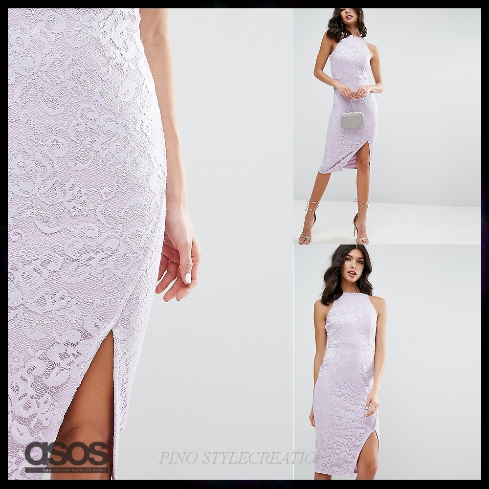 ★送関込★ ASOS Lace High Neck Wrap Skirt Midi Dress