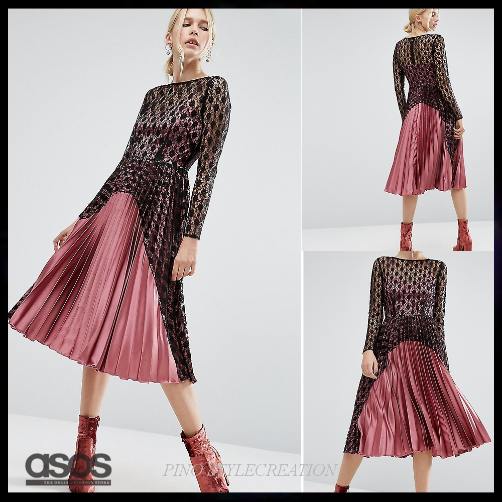 ★送関込★ ASOS Contrast Lace And Pleat Midi Dress in Satin