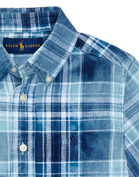 新作♪国内発送 INDIGO COTTON-LINEN SHIRT boys 2~7