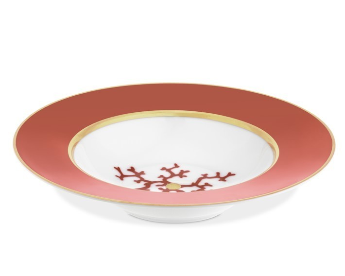 【速達・追跡】Raynaud Cristobal Coral Rimmed Soup Bowl