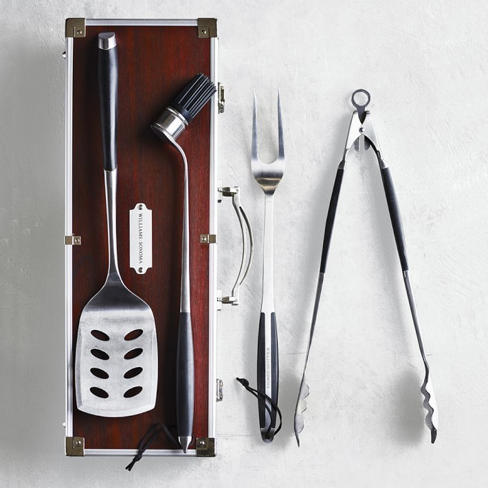 【速達・追跡】Williams Sonoma BBQ Tools Set in Wood Box