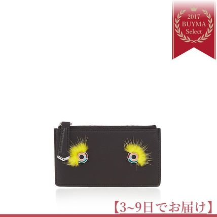新作すぐ届く♪Monster Eyes mink-fur and leather cardholder