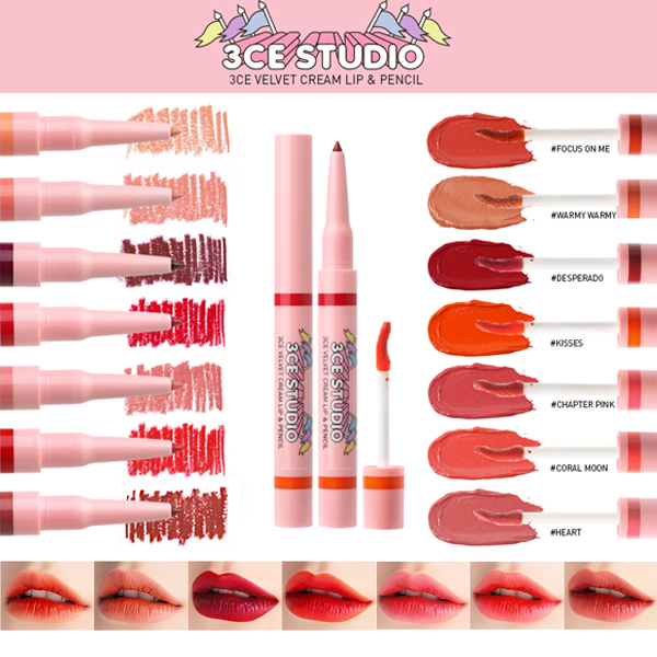 [日本未入荷]3CE STUDIO VELVET CREAM LIP & PENCIL
