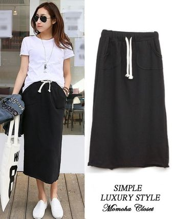 Midi-length sweat skirt all in daily use