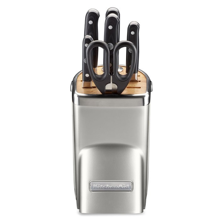 【速達・追跡】KitchenAid  Knife Set, Sugar Pearl Silver