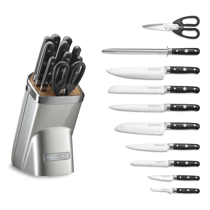 【速達・追跡】KitchenAid11Piece Knife Set Sugar Pearl Silver