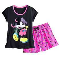 ディズニー Mickey Mouse Neon Short Sleep Set for Women