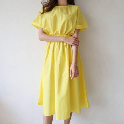 """Shining """"cotton"""" short sleeves and flare dress"""
