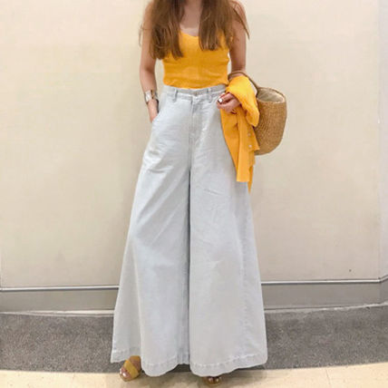 """And all high-waisted """"denim"""" wide pants /S-M"""