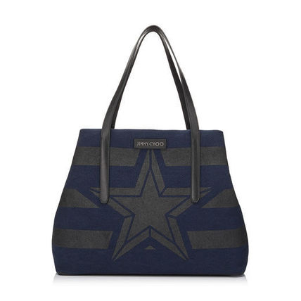 "JIMMY CHOO ""in stock"" Star rectangular canvas tote PIMLICO S"