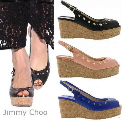 17th SS popular Jimmy Choo Praise leather wedges in