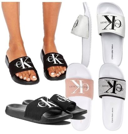 Calvin Klein CK logo with slider shower sandals