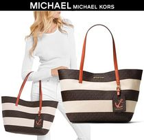 【限定大特価!】MICHAEL KORS * Large Striped Tote ポーチ付き