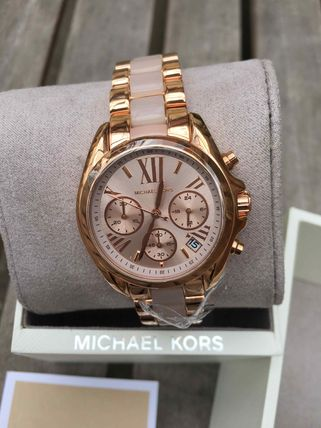 即発送☆MK6066 Bradshaw Mini Chrono Rose Dial Rose Gold-tone