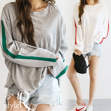 Long T shirt sewn line with simple casual