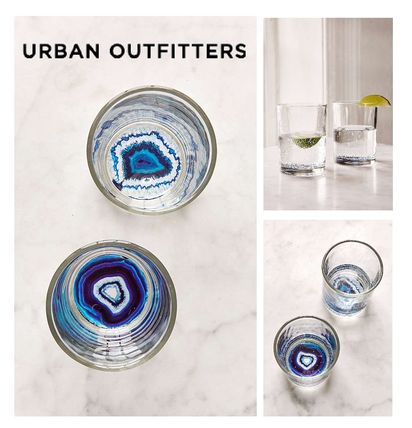 Urban Outfitters Geode Bottom Glasses Set glass