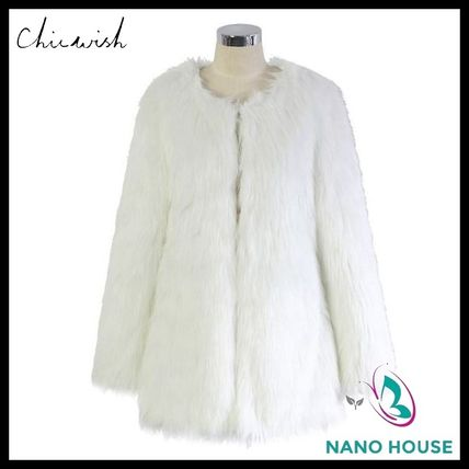 Chicwish fluffy faux leather coat