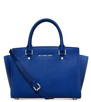 【ベストセラー】MK Selma Medium Satchel Electric Blue