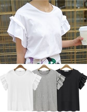 Cute layered ruffle sleeves cotton shirt