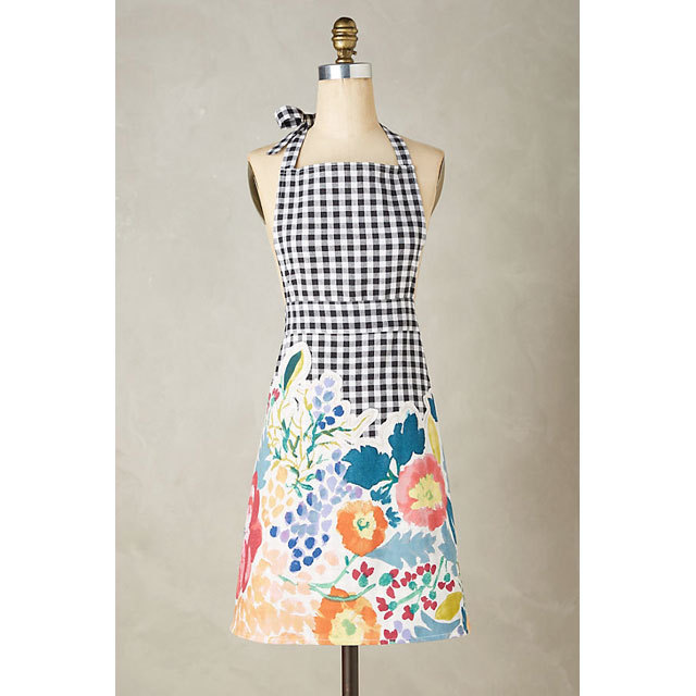 Anthropologie Aprons Three-point set Anthropologie floral & check aprons, mitts, 2