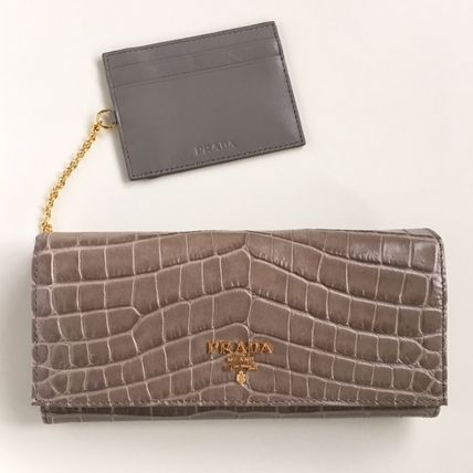 "Path with ""PRADA"" Croco Embossing 2 a bifold wallet grey"