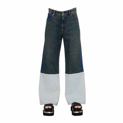 COLOR BLOCK COTTON DENIM JEANS