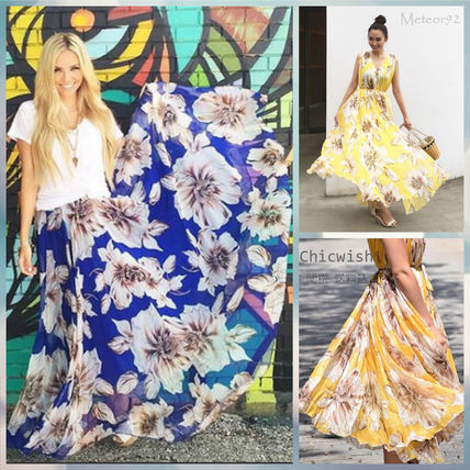 Chicwish floral chiffon Maxi dress * Blue×Yellow