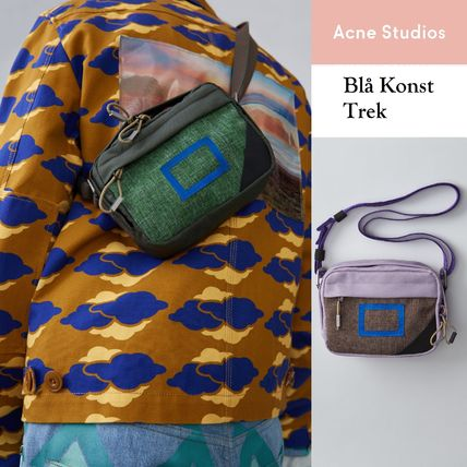 Acne Trek green/lilac light synthetic canvas saddle bags