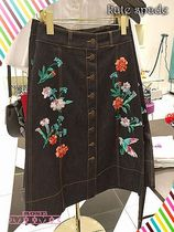 花柄刺繍が素敵!Kate spade★embellished denim skirt