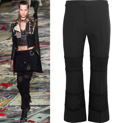 17SS AM190 LOOK3 MACRAME LACE INSERT TAILORED TROUSERS