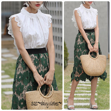 Korea lovely floral lace high neck blouse 3 colors