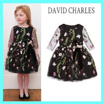 DAVID CHARLES girls Black Floralチュールドレス 24M-8Y 関税込