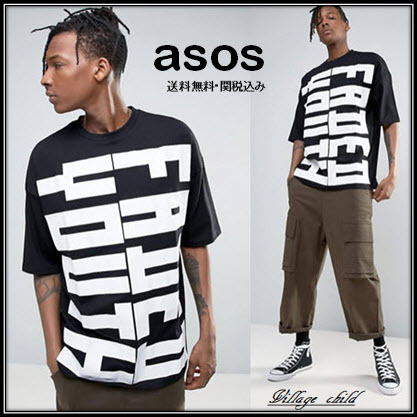 ASOS☆Faded Youth Print And Half Sleeve 特大 Tシャツ☆送関込