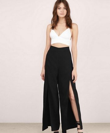 2017 spring slit with wide and slit pants pants