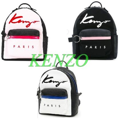 KENZO leather / cotton logo backpack 3 color