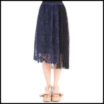 n21ヌメロ ヴェントゥーノEmbellished blue lace skirt