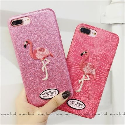 Embroidered patch pink flamingos-style leather iPhone case