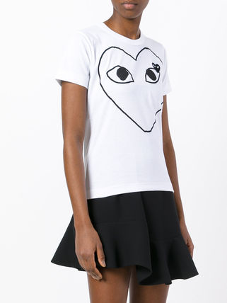 COMME des GARCONS Tシャツ・カットソー 国内2~3日COMME des GARCONS*PLAY黒&赤ハートロゴTシャツ 白(4)