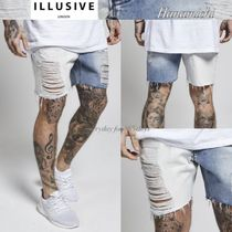 Illusive London*HALFカラーPANEL/MEGA damageデニムShortパンツ