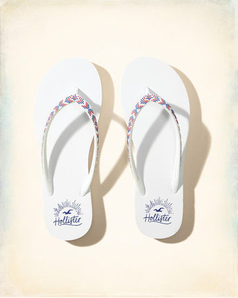Hollister Beaded Rubber Flip Flop