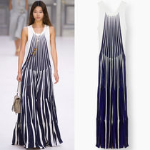 17SS C205 LOOK17 FLUID STRIPE PRINT PLEATED TANK GOWN