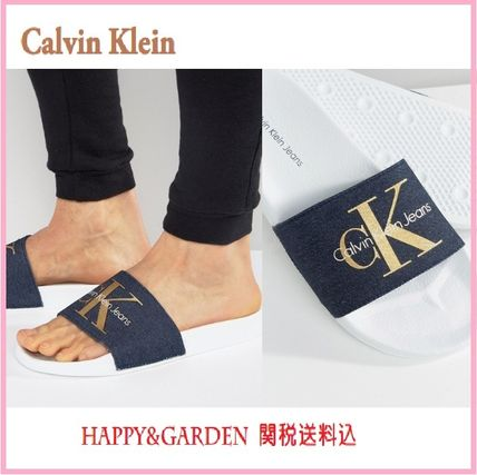 Calvin Klein men's denim logo with sandals