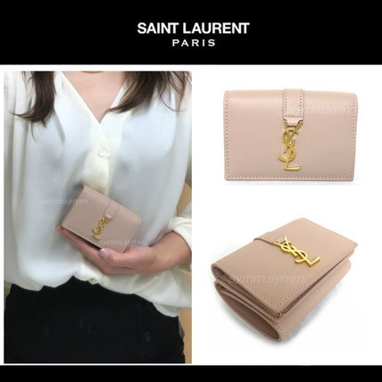 Rare SAINT LAURENT YSL Gold logo-3 folding mini purse