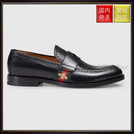Gucci Leather Loafer With Web dress shoes