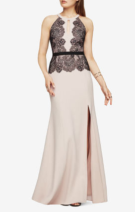 BCBG MAXAZRIA lace embroidered long dress pink
