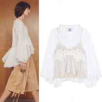 17SS C217 LOOK38 LACE EMBELLISHED POLKA DOT TULLE BLOUSE