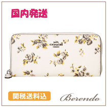 国内発送◆COACH Prairie Print Slim Accordian Zip 花柄 長財布