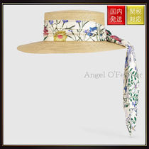 【グッチ】Papier Hat With New Flora Ribbon ストローハット