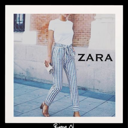 "NEW * popular fashionable ""ZARA"" waist Ribbon stripe pants"