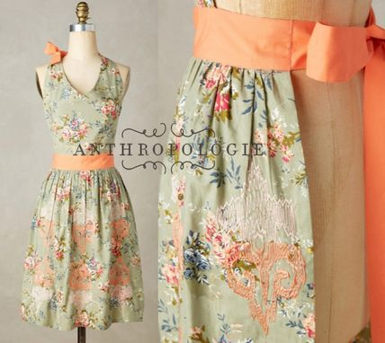 Anthropologie flower embroidered apron